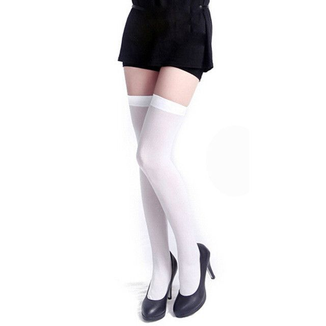 Various colours One Size Fun OpaqueThigh Highs with Satin Bow CRAZY CHICK