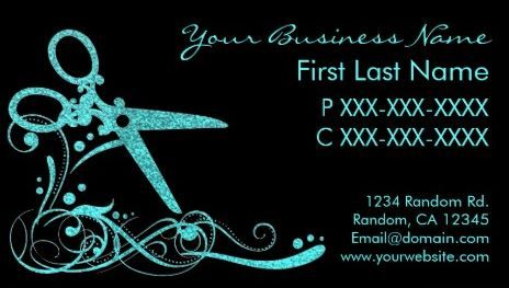 Teal and black glitter swirl scissors hair cutting shears stylist girly hair salon business cards page 1 colourmoves