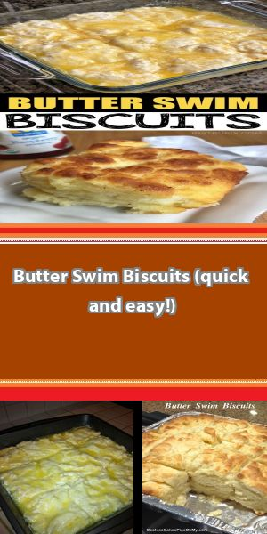 Butter Swim Biscuits (quick and easy!) This simple homemade recipe is TO DIE FOR! The butter makes these biscuits soft and moist on the inside, with a flaky crust on the outside.... #butterswimbiscuits