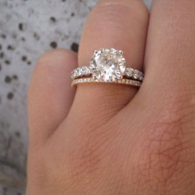 Rose gold wedding ring with platinumwhite gold engagement ring I