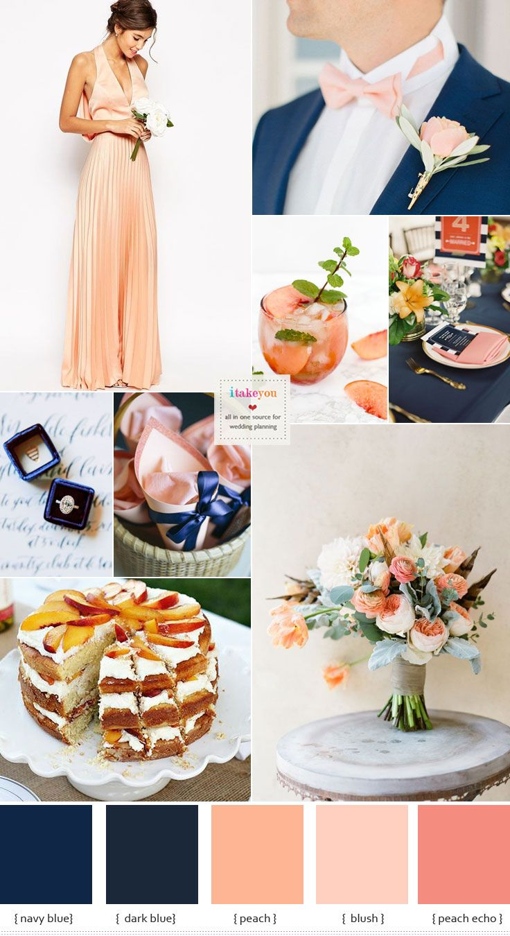 Navy blue and peach wedding colour theme ideas | Peach wedding ...