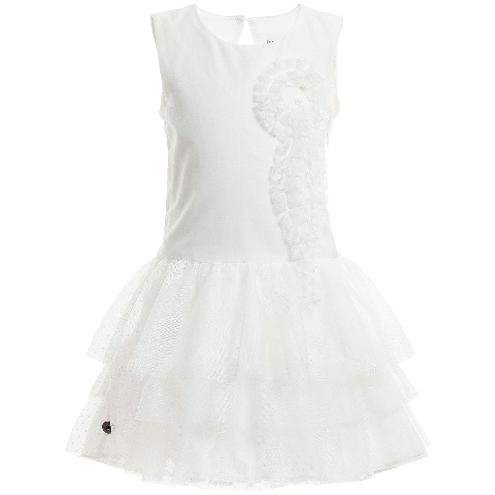 a7bcc49cf2f6d8 White Cotton Dress with Tulle Skirt