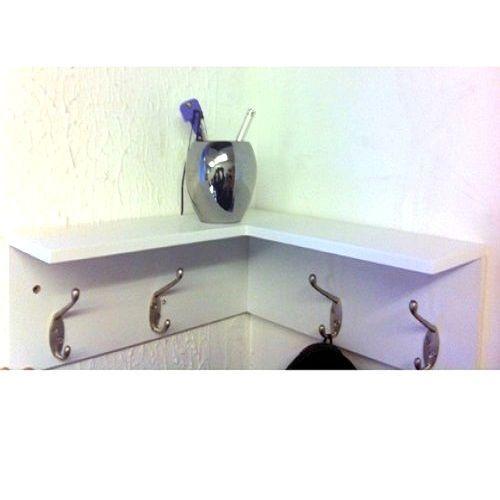 Wooden Corner Shelf White Safety Coat Hooks Rack Stand Shelves