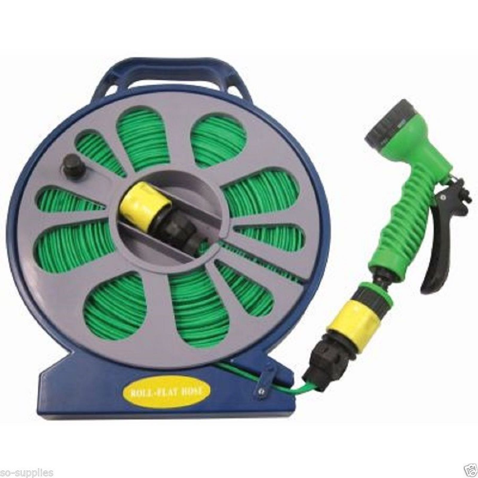 15m 50ft flat #garden hose pipe & reel with #spray gun #outdoor car #garden wateri,  View more on the LINK: 	http://www.zeppy.io/product/gb/2/322087523115/