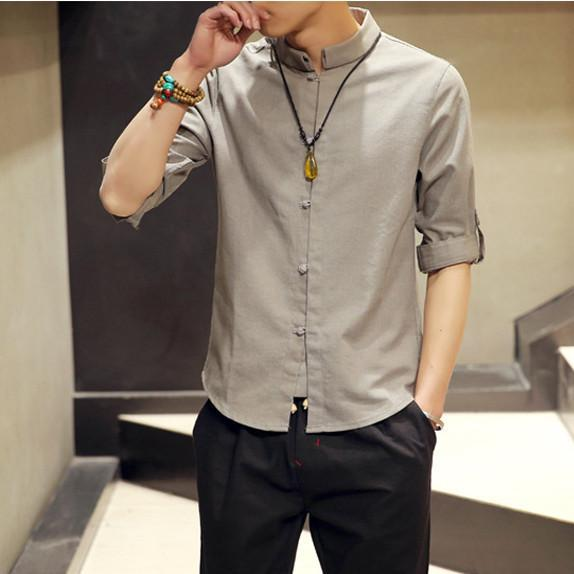 Domple Mens Chinese Style Linen Mandarin Collar Casual Buttons Shirts