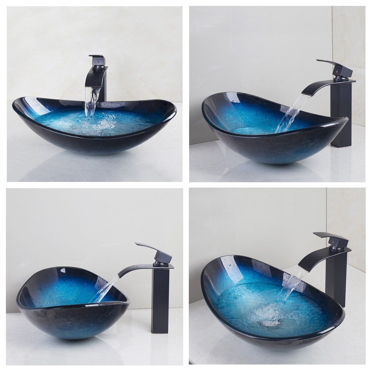 Bathroom Vessel Sink Set Contemporary Tempered Glass Matching