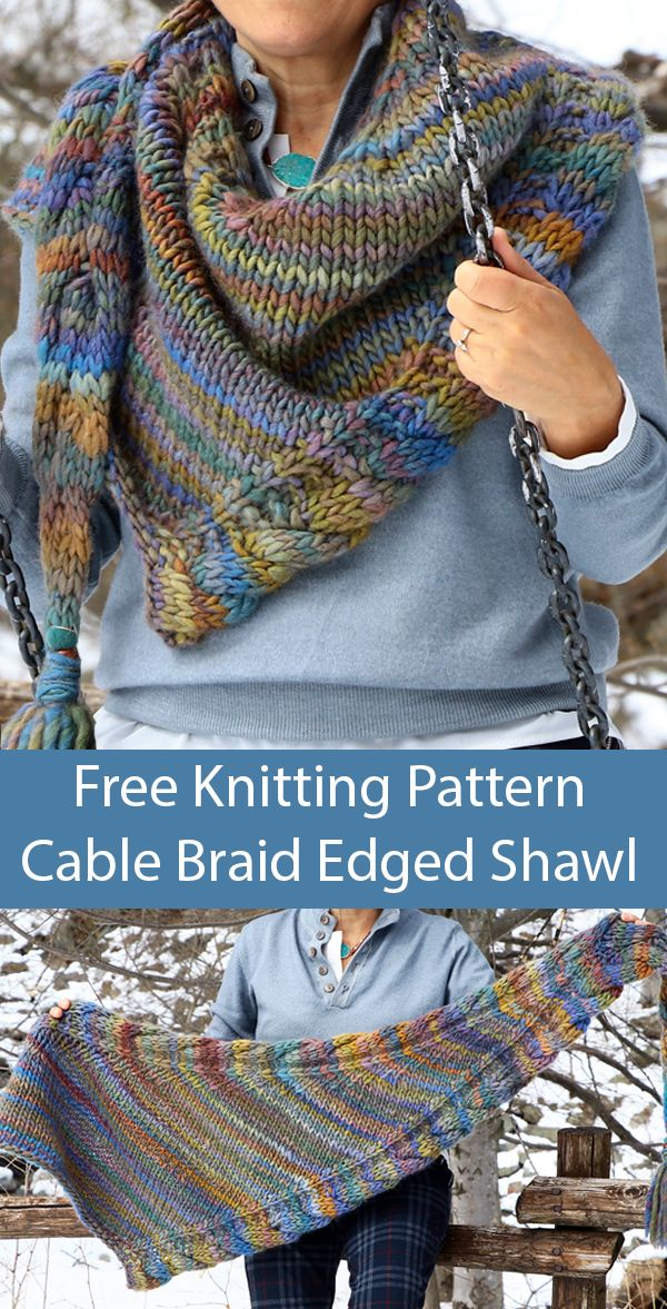 Photo of Free Knitting Pattern for Cable Braid Edged Shawl in Bulky Multicolor Yarn
