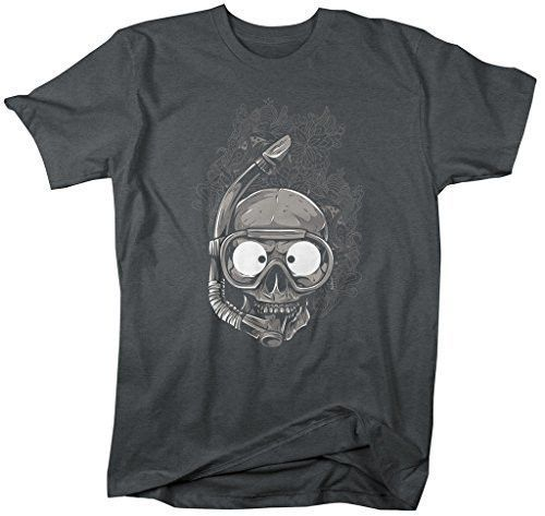 "This grunge inspired t-shirt is perfect for the scuba diver or snorkeler in your life. If you're looking for a different, unique graphic printed design to show off your love of being in the water, this t-shirt is it. The skull features a snorkel and mask with grungy floral details behind. Our cotton shirts are machine wash and dry. - Pre-Shrunk Cotton T-Shirt 100% cotton (sport gray contains 10% polyester, dark heather contains 50% polyester) - A great grungy design for any scuba diving or snorkeling enthusiast. - Unisex size information: small: 28"" long by 18"" wide medium: 29"" long by 20"" wide large: 30"" long by 22"" wide x-large: 31"" long by 24"" wide 2x: 32"" long by 26"" wide 3x: 33"" long by 28"" wide - Proudly Printed In U.S.A. - Taped Shoulder To Shoulder, Double Needle Stitched Throughout, 7/8"" Collar"