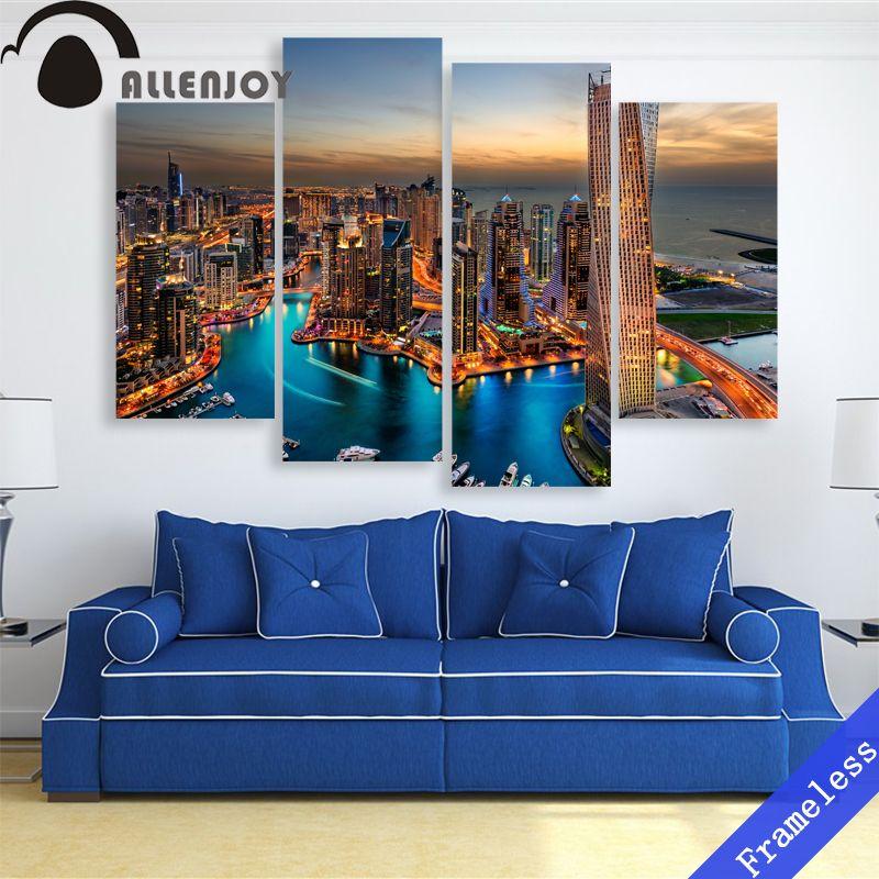 Dubai Night Skyline Canvas Giclee Print Picture Unframed Home Decor Wall Art