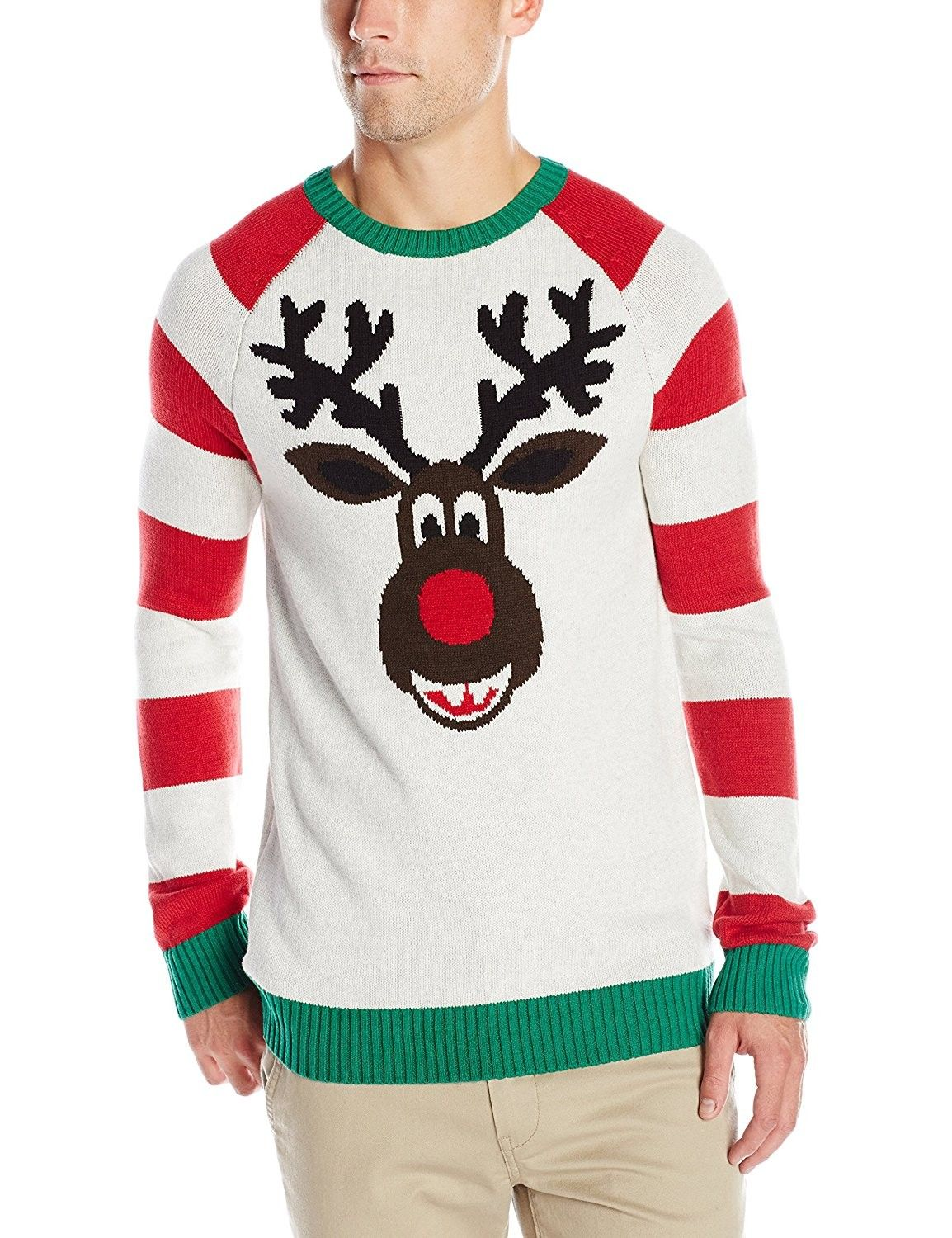 Ugly Christmas Sweater Men\'s Tangled Lights Reindeer - White Heather ...
