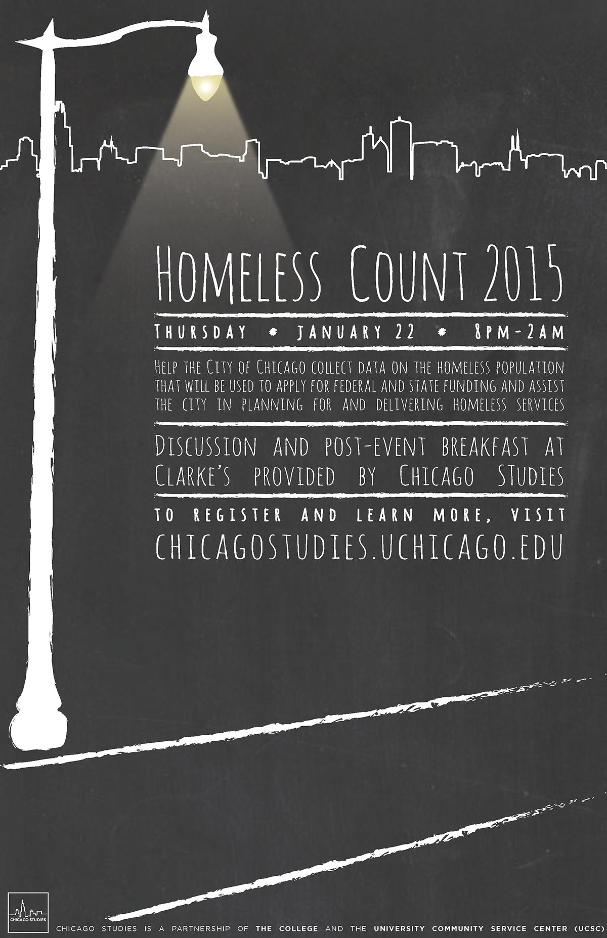 Homeless Count Chicago 2014 Poster Chalkboard Graphic Design Chicago Studies Anneka Van Scoyoc On Behance Homeless Brochure Design Poster Design