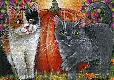 Calico & Gray Kitten Fall Painting