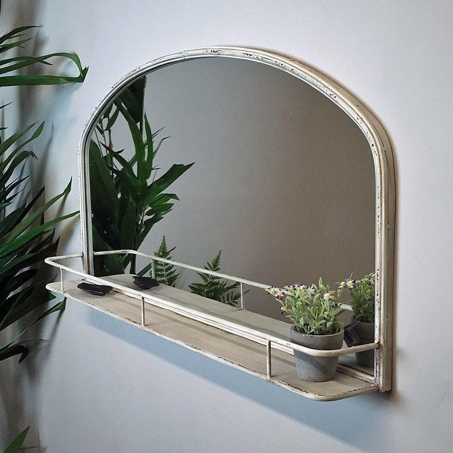 Distressed Vintage White Wall Mirror Shelf Wall Mirror With Shelf White Wall Mirrors Mirror Wall [ 900 x 900 Pixel ]