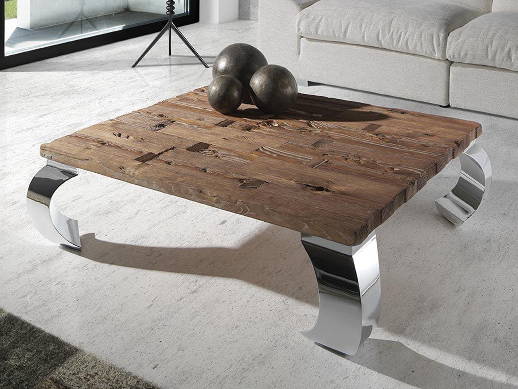 Mesas de centro cuadradas en madera de mobila vieja y - Mesas bajas de salon ...