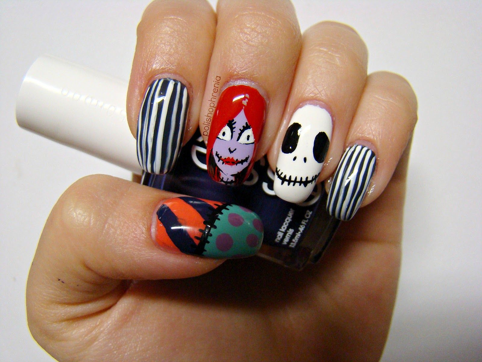 Nightmare before christmas. Jack, Sally and striped nails!! | Nails ...