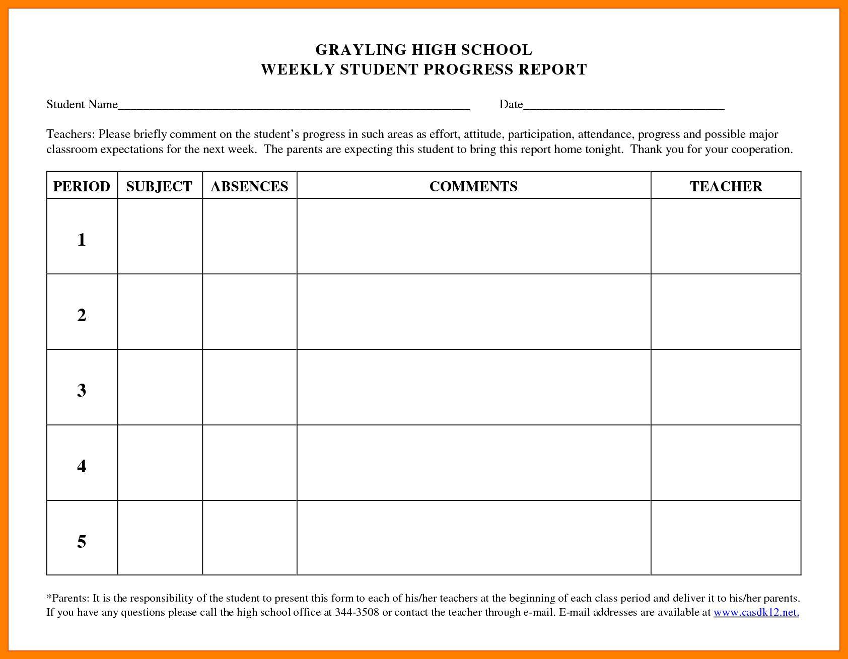 School Progress Port Template High Pdf Form Student Format Throughout Educational Progress Report Temp Progress Report Progress Report Template Report Template