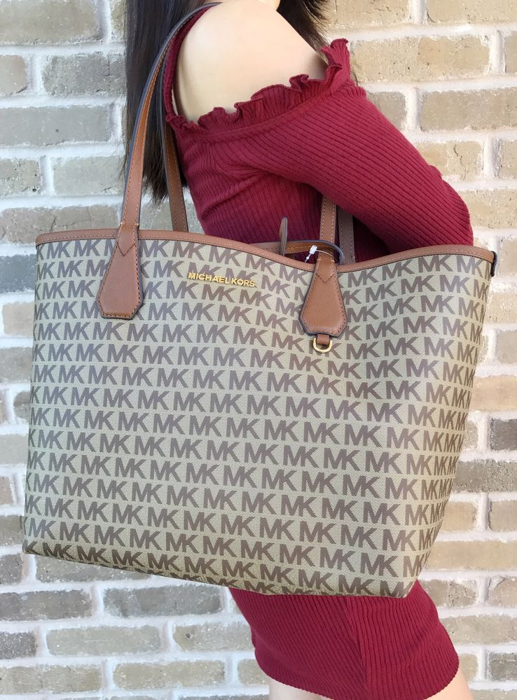 df8548893f73 Michael Kors Candy Large Reversible Tote Luggage Brown Signature Khaki  Pouch Bag  MichaelKors  Tote