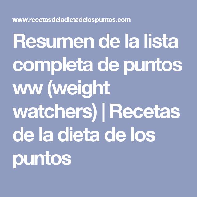 Dieta de weight watchers / mi tia