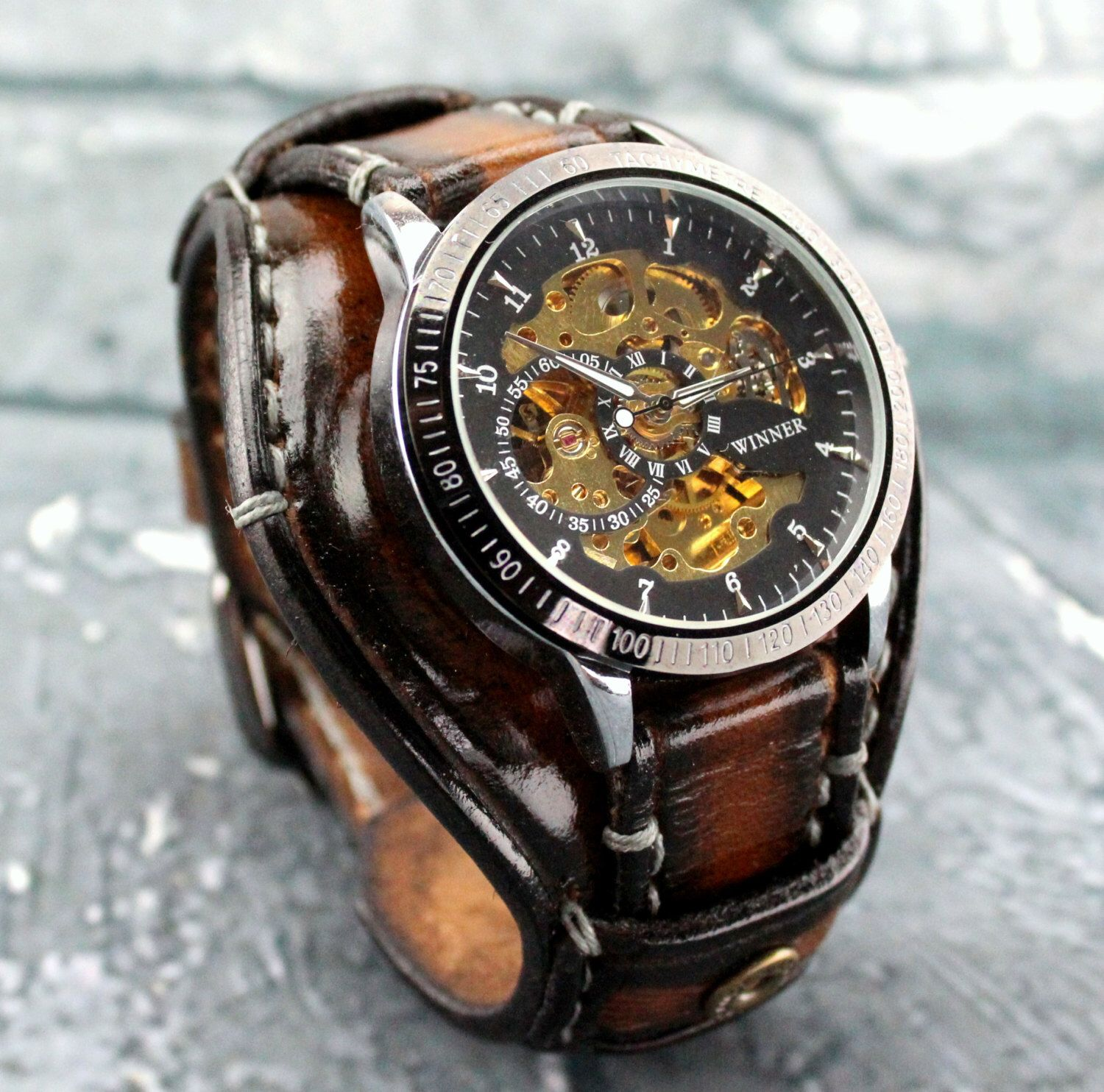 aged leather mechanical cuff steampunk skeleton mens watch gift wrist brown pin bracelet