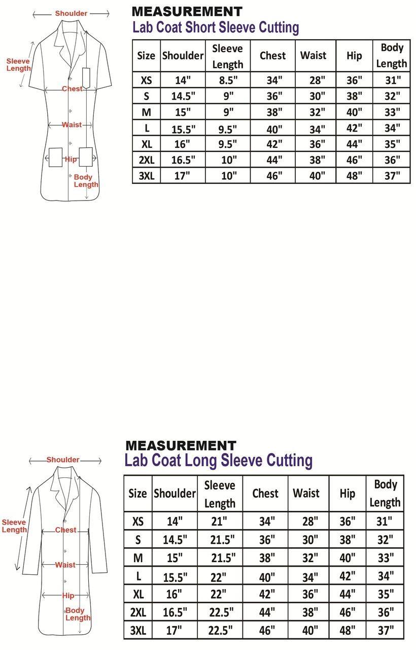Female lab coat measurement table with images lab coat