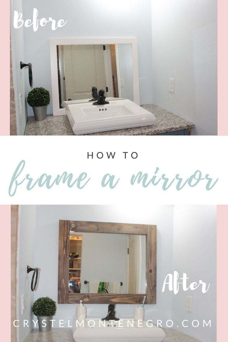 How to frame a mirror / make a rustic mirror frame / DIY mirror ...