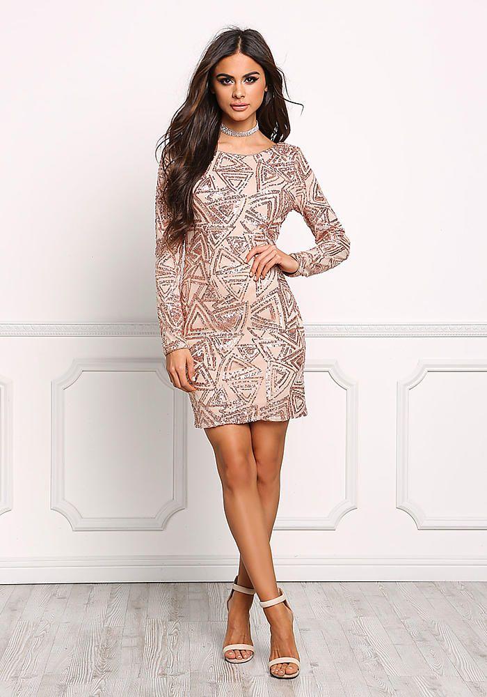 Rose Gold Sequin V Back Bodycon Dress - Going Out - Dresses