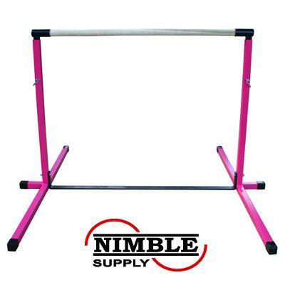9efefad0bae2 Next addition to our home gym Pink Adjustable Horizontal Bar Gymnastics  Junior Bars   eBay