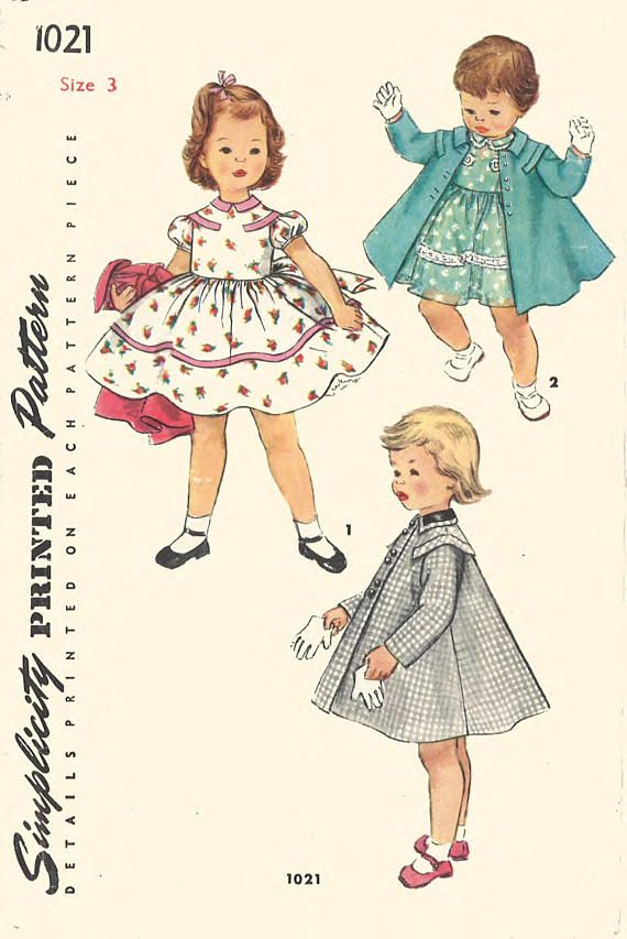 Vintage 1950\'s Sewing Pattern RARE Girl\'s Toddler\'s Pretty Dress ...