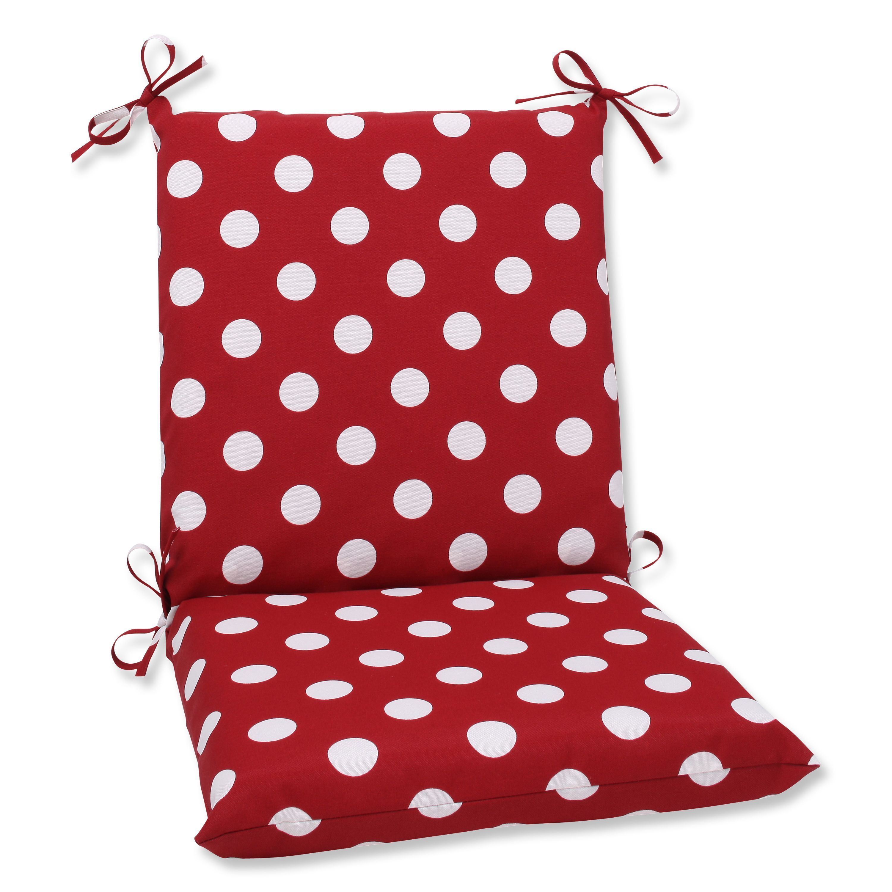 Pillow perfect outdoor red white polka dot square chair cushion