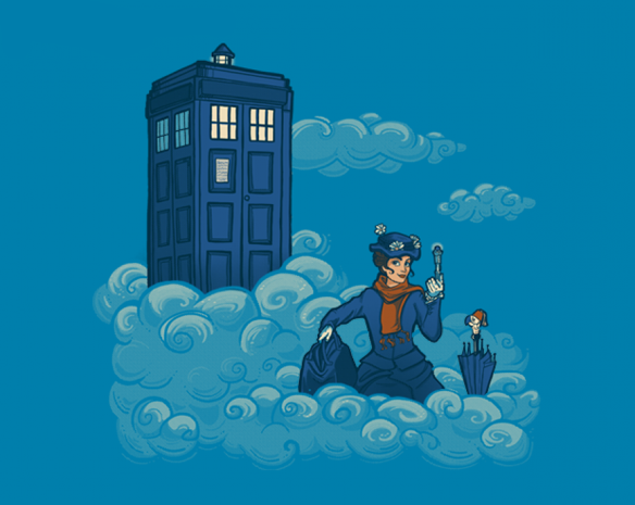 She can fly with an umbrella and her bag is bigger on the inside so does anybody doubt that Mary Poppins is a Time Lord? The Nanny Who T-Shirt reveals her secret.  Artist Karen Hallion has created an eye-catching image that brings Doctor Who and Mary Poppins into an interesting mash-up... whic