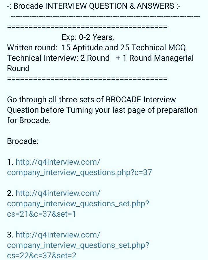Good Collection Of Brocade Interview Question And Answers Shared By Users Which  Cover Each Round In Detail. Get Major IT Companies Interveiw Questions And  ...