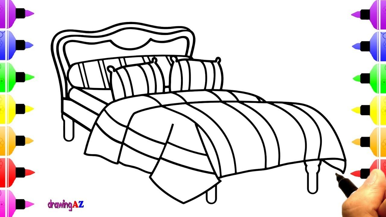 How To Draw Bed For Kids Children S Coloring Page Kid Beds Coloring Pages For Kids Home Decor Decals