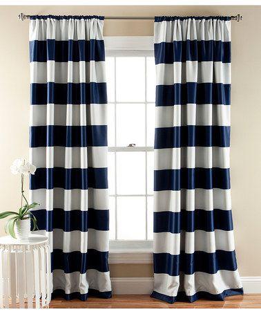 Lush Decor, Navy Striped Curtains