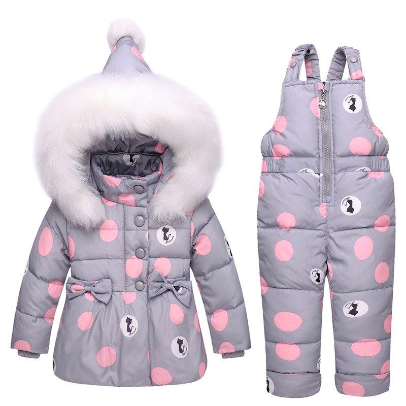 897bd4a86470 2019 New Baby Girls Winter Warm Clothes 90% White Duck Down Suit 1-3y Girls  Fur Collar Down Jacket Girls Outwear Snowsuit Coat