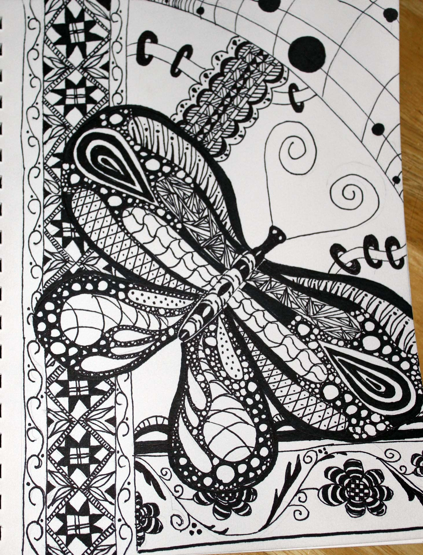 #zentangle #Butterfly #doodle | Drawings, Doodles, Cards