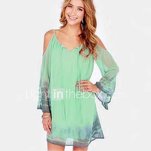 baf4e9add10 Women's Casual/Daily Simple Loose Dress,Solid Off Shoulder Above Knee Long  Sleeves Cotton Winter Mid Rise Micro-elastic Medium 2017 - $15.19