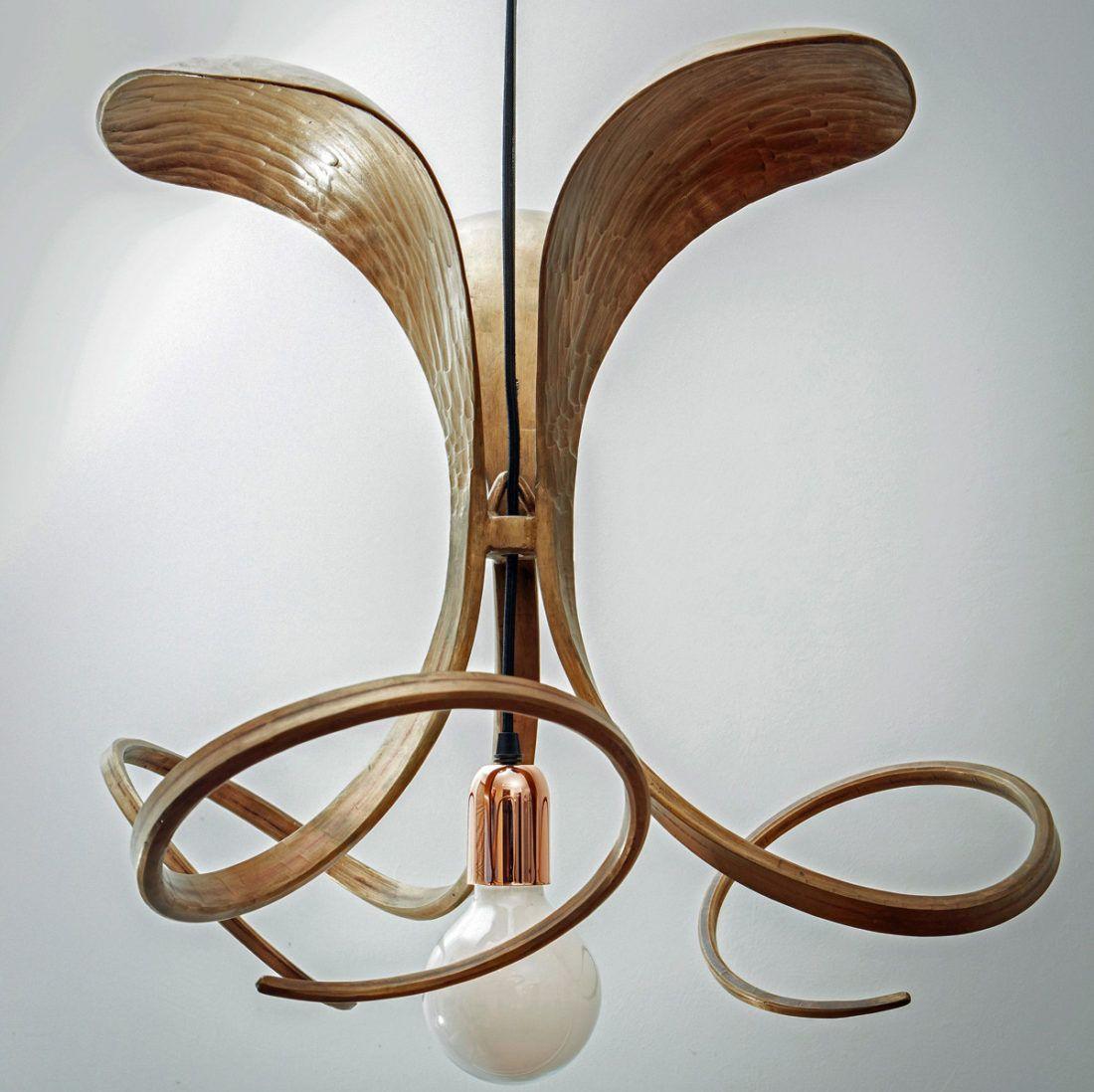 Forged bronze sculptural light fitting