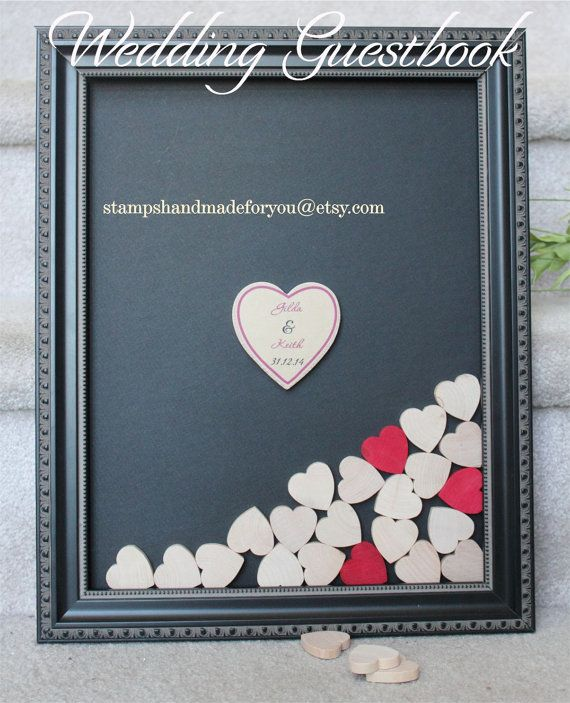 Heart Drop Box Guest Book Alternative Wedding Guestbook Ornate Framed With Hearts Wood Frame 11x14 Instruction