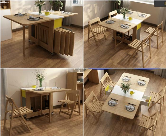 Shozafia 5 Pcs Fully Assembled Foldable Kitchen Table Set Rolling