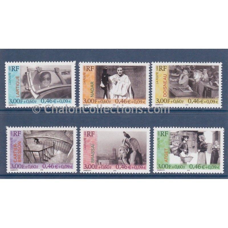 Timbres-poste,   Série Personnages Célèbres Photographes neuf N° Yvert 3262-3267, Latrigue, Nadar, Doisneau, Cartier-Bresson, Brassaï, Atget
