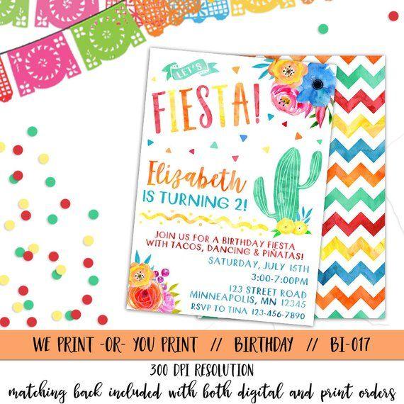 Fiesta Invitation Birthday Invite Spanish M