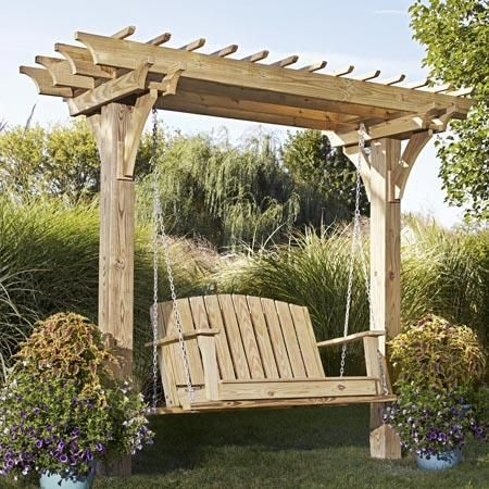 Easy Swinging Arbor With Swing With Images Backyard Structures Outdoor Backyard Pergola