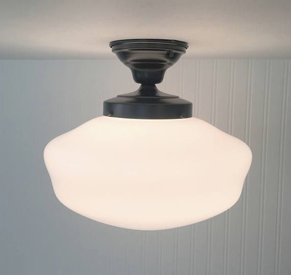 VINTAGE Large Schoolhouse Ceiling Light With Semi Flush