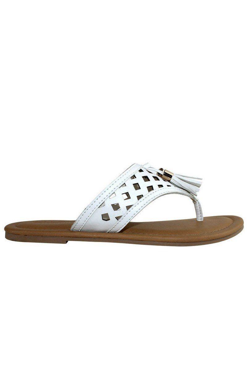 White Tassel Cutout Sandal