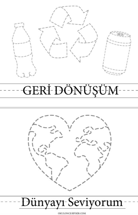 Okul öncesi Geri Dönüşüm çizgi çizme Sayfası Dünya Ve Geri Dönüşüm
