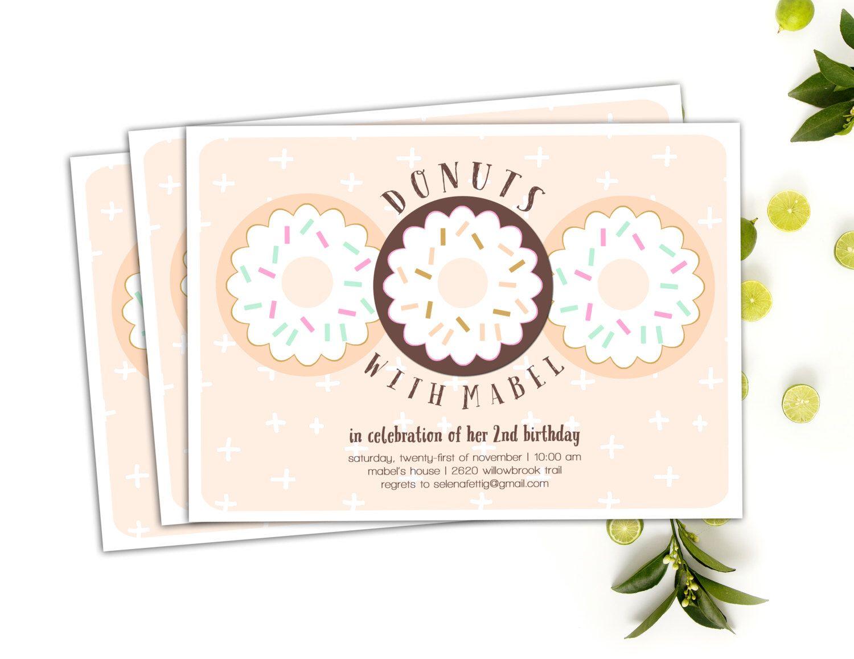 Donut Invitation // Pajamas and Donuts Party Invitation // Doughnut ...
