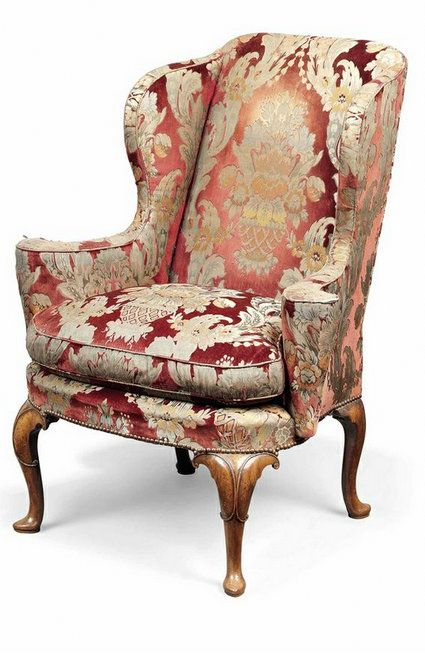 A Queen Anne Walnut Wing Armchair Circa 1710 Meble Antyki