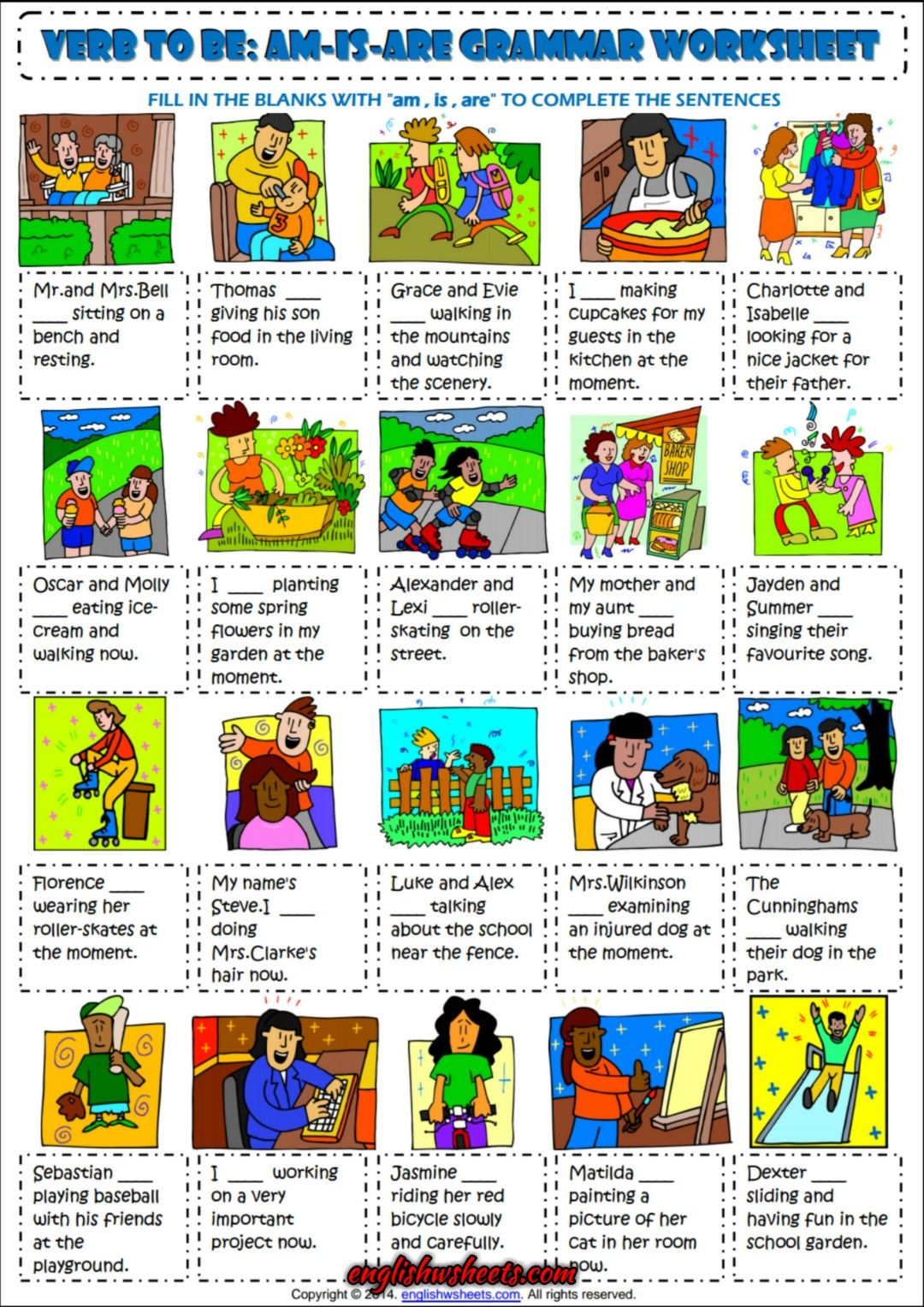 Verb To Be Am Is Are Esl Exercises Worksheet For Kids