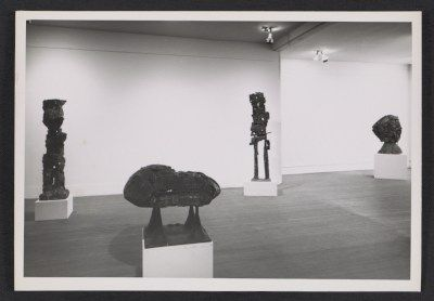 Installation view of an Eduardo Paolozzi exhibition at the Betty Parsons Gallery, between 1958 and 1963 / Oliver Baker, photographer. Betty Parsons Gallery records and personal papers, Archives of American Art, Smithsonian Institution.