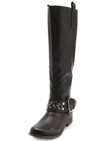 STUDDED STRAP KNEE-HIGH BOOT